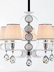 tecido lustre 5 lâmpada de alto grau de luz anel de prata jade branco