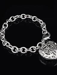 Women's Fashion Hollow Heart Silver Plated Charm Bracelet