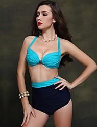 Foclassy 2015 New Arrival Women's Sexy Bikini Push Up Plus Size Swimwear With High Waist