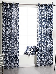 Neoclassical One Panel Floral  Botanical Blue Bedroom Polyester Panel Curtains Drapes