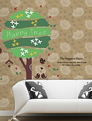Wall Stickers Wall Decals, Natural Happy Tree PVC Wall Stickers