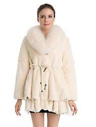 Fur Coat Full Sleeve Fox Collar Natural Rex Rabbit Fur Casual Coat(More Colors)