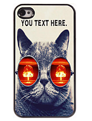 Personalized Case Cat with Glasses Design Metal Case for iPhone 4/4S