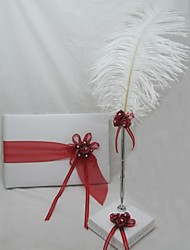 Guest Book and Pen Set With Red Ribbon Flower Sign In Book