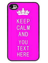 cas personnalisé rose garder le calme cas design en métal pour iPhone 4 / 4S