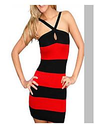 stripe vestido de alça bodycon das Amica mulheres