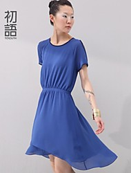 Women's Blue/Yellow Dress , Casual Short Sleeve