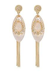 Woman's Fashion Crystal Plated 18K Gold Tassels Eardrop