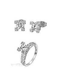 Bridal Jewelry Set 18K Silver Plated CZ Diamond Certified Eiffel Tower Earrings Ring Engagement