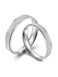 Fashionable Contracted Dull Polish Platinum Plated Couple Rings (Set of 2)