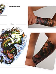 1 Pcs Waterproof  Color Large Paddle Of Dragon  Pattern  Tattoo Stickers
