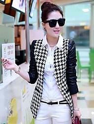 Peach John Women's Long Sleeve Slim Fashion Round Collar Causual Print Temperament Suit Blazer