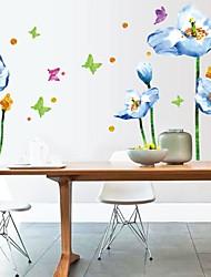 Stickers muraux Stickers muraux, de la mode fleur bleue papillon pvc stickers muraux