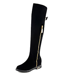 zapatos de mujer punta redonda bajo el talón hasta la rodilla botas altas de cuero más colores disponibles