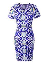 женская круглым воротом геометрический принт Обернуть платье