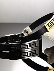 grandes lignes de mur en acier de titane plaqué or 24 k hommes Bracelet en cuir