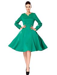 Frauen mit V-Ausschnitt hohe Taille schwingen midi lange Ärmel Kleid