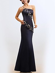 Formal Evening Dress - Dark Navy / Ruby Plus Sizes Trumpet/Mermaid One Shoulder Floor-length Satin