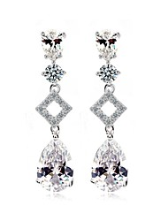 Luxury Excellent Cut Cubic Zircon Long Drop Earrings Unique Design Bling Bling CZ Crystal Earrings For Women