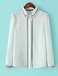 revers geborduurde chiffon blouses met lange mouwen