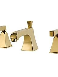 baño generalizada moderno tres agujeros del grifo del fregadero en oro con doble asa