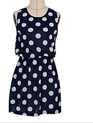 Women's Polka Dot Blue/White/Black/Orange Dress , Bodycon Crew Neck Sleeveless