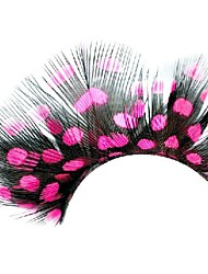 Fuschia Polka Dots Feather Carnival Eyelashes