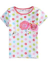 Mädchens T-Shirt mit kurzen Ärmeln T-Shirt Tupfen-Kinder T-Shirt Kinder T-Shirt (Streudruck)