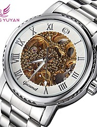 Men's Watch Mechanical manual-winding Skeleton Watch Hollow Engraving Alloy Band Cool Watch Unique Watch