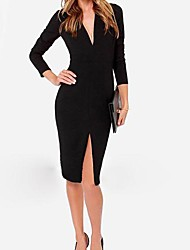 Women's Work Sheath Dress,Solid Deep V Knee-length Long Sleeve Red / Black Cotton / Polyester Spring / Fall