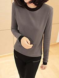 uoar's eenvoudige vrouwen herfst en winter kleding slanke korte primer aanzienlijk dunner dikke lange mouwen t-shirt