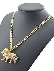 homens pingente de 45 centímetros leão diamante cadeia Figaro dourado chapeado colares cadeia (largura 4mm)