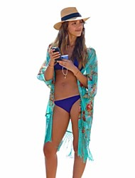 Women's Tassel Cover-Ups,Floral Cotton/Polyester Multi-color