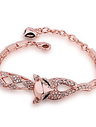Lovely Women's Fox White Rhinestones Stoving Varnish Rose Gold Plated Tin Alloy Chain & Link Bracelet(Rose Gold)(1Pc)