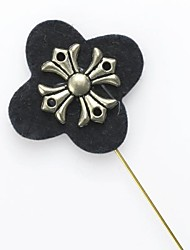 Black Flower Crucifix Cross Men's Corsage Lapel Stick Pin Brooch