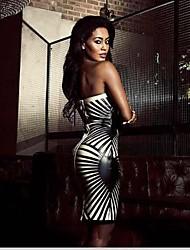 Women's Club Dress,Geometric Knee-length Sleeveless Black / Gold Polyester / Spandex All Seasons