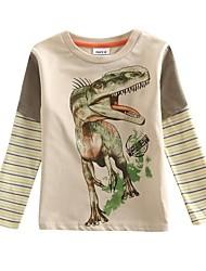 T-Shirt Cartoon-Dinosaurier, der Junge gedruckt 100% Baumwolle Jungen T-Shirt mit langen Ärmeln Kinder T-Shirt