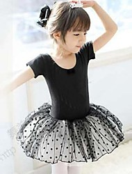 Kids' Dancewear Dresses Children's Training Cotton Black / Pink Ballet Short Sleeve Natural