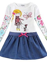 floreali ragazze vestito della ragazza lunghe maniche cartone animato abiti bambini abiti (casuale stampato)