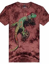 dos homens em torno do pescoço de moda lagarto animais 3d t-shirt de manga curta impresso
