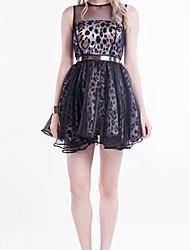 vestido de traje de patrón pelota leopardo de la manera de las mujeres Beautifly