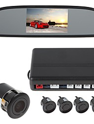 4 sensores sensor de estacionamento auto reverso sistema detector de radar com monitor de visão traseira espelho (buzzer, câmera de visão traseira)