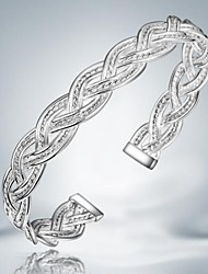 Fashion Simple Silver Plated Alloy Cuff Bracelet(1pc)