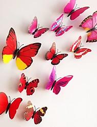 12pcs 3d stickers muraux stickers muraux, papillons colorés muraux PVC autocollants