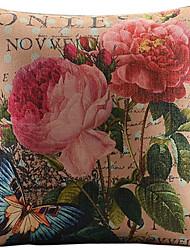 grande flores vermelhas algodão / linho impresso fronha decorativo