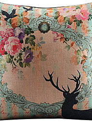 Beatiful Wreath and Deer Cotton/Linen Printed Decorative Pillow Cover