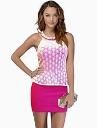 Rundkragen und weise dünne Hüfte Paket Kleid der Frauen