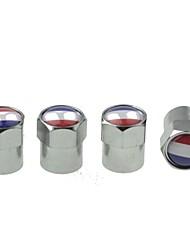 pneu de voiture de luxe drapeau national vannes de cuivre bouchon de décoration (France 4 pièces par paquet)