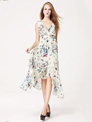 Women's Beach Swing Dress,Floral Surplice Neck Midi Sleeveless Blue / Pink Spring / Summer / Fall
