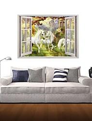 3d stickers muraux stickers muraux, cheval blanc décor licorne autocollants muraux en vinyle